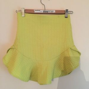 Zara neon yellow mini skirt